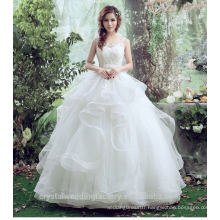 Real Made White Lace Up Ball Gown Quality Wedding Dresses 2017 Plus Size Bridal Tiered Ruffle Ball Gown Wedding Dress MW2197