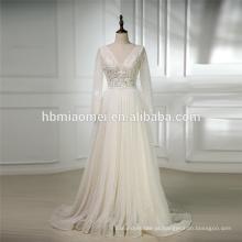 2018 luxo branco cor pesado frisada manga longa China custom made vestido de noiva