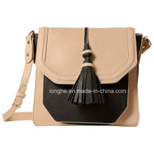 Chic Color Block Design Tassel Detail Crossbody Bag (ZXS0127)