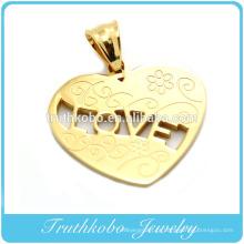 2014 corte a Laser de moda em ouro trançado pingente em forma de coração de aço inoxidável gravado padrão tribal flor pingente de colar de jóias