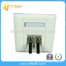 Placa Frontal / placa de pared de dos puertos ST de fibra óptica biselada