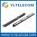 1U 19 polegadas 24 port(3*8) tipo Patch Panel Cat. 5E e Cat. 6