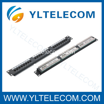 1U 19 pouces 24 port(3*8) type de Patch Panel CAT 5e et Cat.6