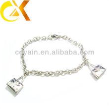 Pulsera de la joyería del acero inoxidable con el colgante del bolso dos para la muchacha encantadora