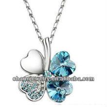 Rodio plateado collar de cristal afortunado trébol colgante collar para las mujeres (PE-002G)
