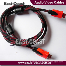High Speed 1.4V Nylon Braid HD Male to Male Cable with Ethernet TV Cable