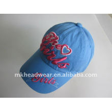 Six panel blue girl's sport caps with 3D embroidery logo
