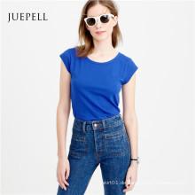 Kappen-Hülsen-Baumwollfrauen-T-Shirt