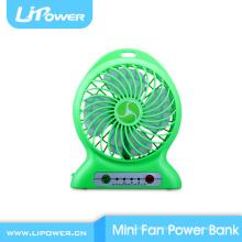Перезаряжаемый сверхсильный веерный мини-вентилятор с функцией регулируемой скорости банка мощности и светодиодным фонариком