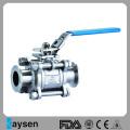 3-х канальный санитарный шаровой клапан с тремя зажимами SS304