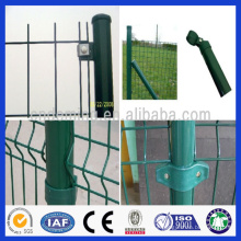 DM high quality low price powder coated metal wire welded bending 3D garden fence with round post for sale