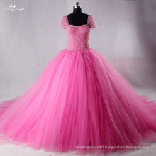 TW0175 Pink Detachable Bow Rhinestones And Pearl Wedding Dress Ball Gown
