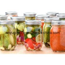 Botella de vidrio de 16 onzas para encurtidos y tarros de almacenamiento de alimentos