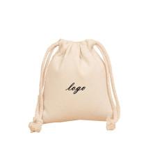 Reliable factory custom logo printed plain cotton canvas drawstring bag custom