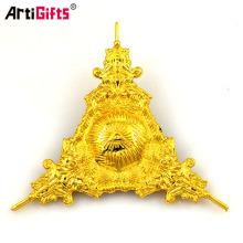 Insignia de encargo al por mayor barata del Pin de la solapa del triángulo de Siver del oro de la galjanoplastia de metal