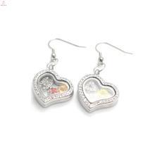Silver crystal heart charms earrings,beautiful photo glass floating earrings wholesale