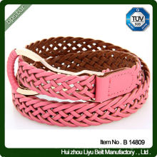 Hot Pink Color Braided PU Leather Belts With Stylish Belt Buckle