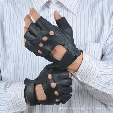 Guantes sin dedos de cuero para hombre con agujero de nudillo y cierre de velcro