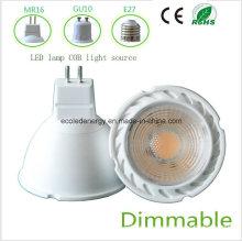 Dimmbale 5W MR16 blanco COB LED de luz