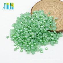 Alta Qualidade Plana Rodada Abs Colorido Meia Massa Solta Pérolas Falso Para Diy Z14 Aquamarine Verde