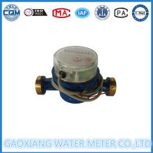 Medidor de água de latão Jet Single com saída de pulso