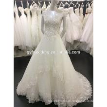 Alibaba 2016 Einzigartiges Kleid-Kappen-Hülsen-Boots-Ansatz Sequined Spitze-Saum-Fußboden-Länge Bling Ballkleid-Hochzeits-Kleid A087