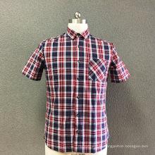 Мужская рубашка с короткими рукавами из хлопковой клетчатой пряжи