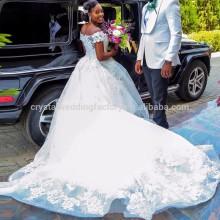 2017 nuevo fuera del hombro Vestido De Noiva Appliqued Puffy vestido de bola de encaje vestidos de boda africana MW994