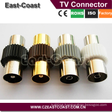 Nickel/ Gold 9.5mm female to female tv adapter