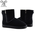Womens Genuine Leather Sheepskin Lined Ankle Flat Boots