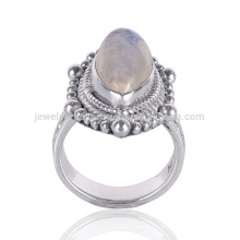 Dernier Design 2017 Rainbow Moonstone 925 Silver Ethnic Design Ring