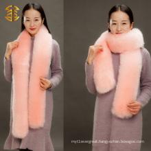 Genuine Fox Stole Lady Fashion Warm Fox Scarf Long Knitted Fox Scarf