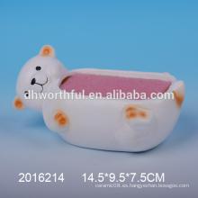 Sostenedor de esponja de cerámica de pequeño oso encantador para la cocina