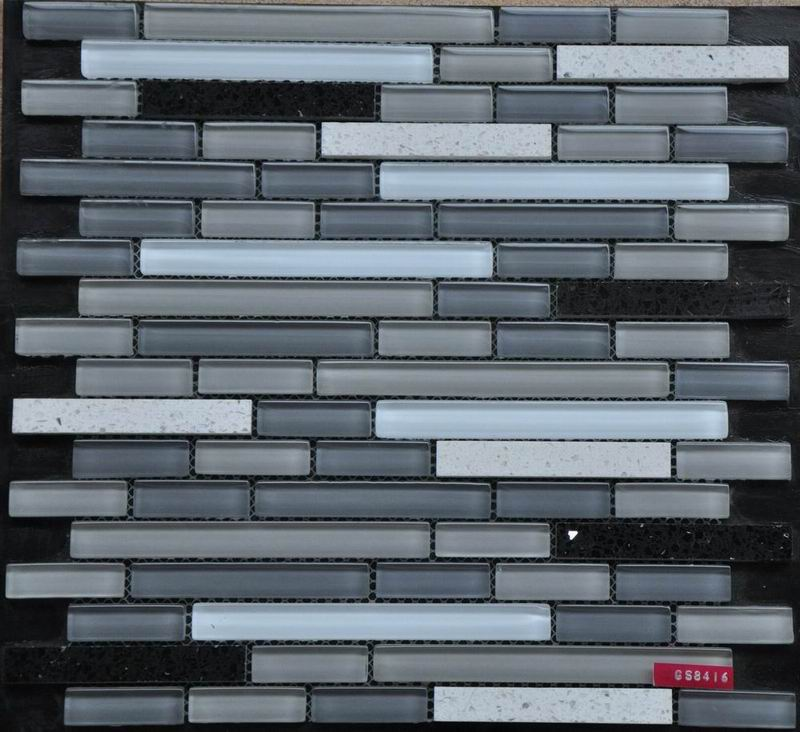 Gray Strip Glass Stone Mixed Decoration Mosaic