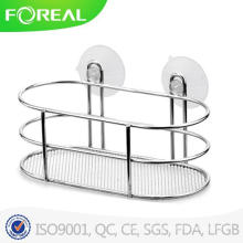 Chromed Metal Wire Bathroom Soap Rack with Suction Hook