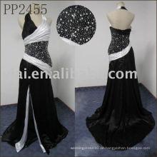 PP2455 Schwarz-Weiß-Halfter Hals Abendkleid Hijab Muster