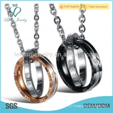 Plated rose gold and black lover rings and pendant necklace design
