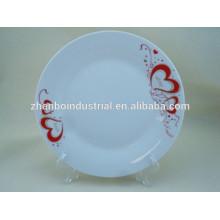 Round heart decal decorate custom design porcelain plate