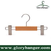 Beech Wooden Children Pants Hanger with Clips