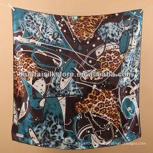 Bufanda azul de seda de la cabeza de seda de la manera del leopardo de la señora del 100%