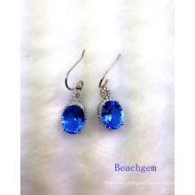 Fashion Blue Quartz Sterling Silver Earrings (E1692)