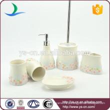 Atacado banheiro acessórios de cerâmica com Pink Plum Blossom