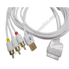 TV RCA Video Composite AV Cable +USB For Apple iPad 2 iPhone 4 4G 3GS iPod Touch