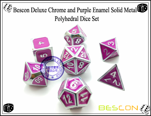 Bescon Deluxe Chrome and Purple Enamel Solid Metal Polyhedral Role Playing RPG Game Dice Set (7 Die in Pack)-2