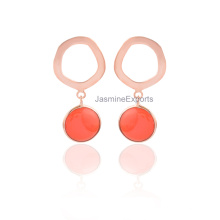 New Coral Chalcedony Fashion Earring Jewelry for Engagement & Wedding