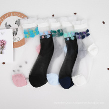 Summer Japanese Academy Bubble-mouthed Female Socks Lace in Socks Glass Filament Thin Sexy Transparent Socks