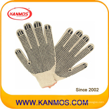 Black PVC Dotted Cotton Knitted Industrial Hand Safety Work Gloves (61003)