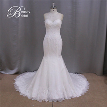 Xf1038 French Design Real Picture of Strapless Beaded Lace Bridal Wedding Dress 2016