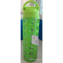 Bouteille d'eau en verre avec manchon en silicone PP Couvercle 385g 520ml