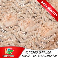 Mode Design Gute Qualität Chiffon 3D Blume mit Pailletten Stickerei für Dressing, Hochzeit, Kleider, Hometextile